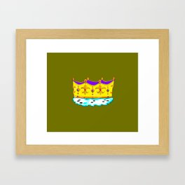 A Royal Crown with a Green Background Framed Art Print
