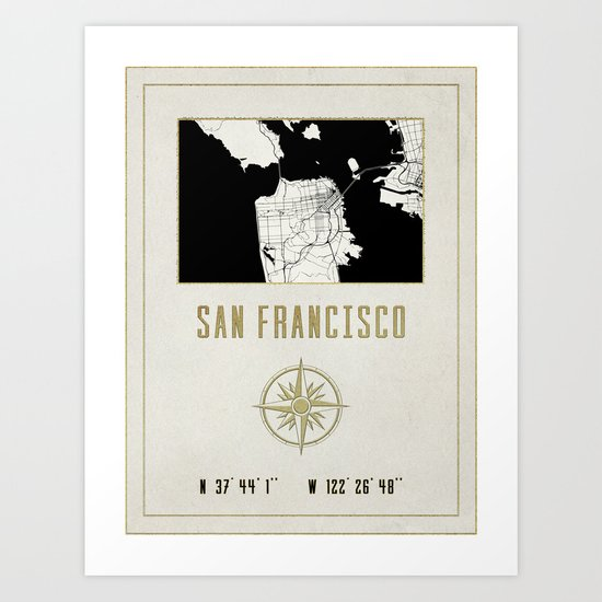 San Francisco - Vintage Map and Location Art Print
