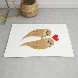 Two Cute Otters Holding Hands Tees Rug