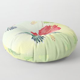 Colorful Hummingbirds and Hibiscus  Floor Pillow