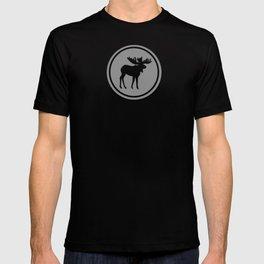 Bull Moose Silhouette - Black on Gray T-shirt