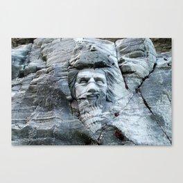 KING ARTHUR CARVING ON ROCK ENGLAND Canvas Print
