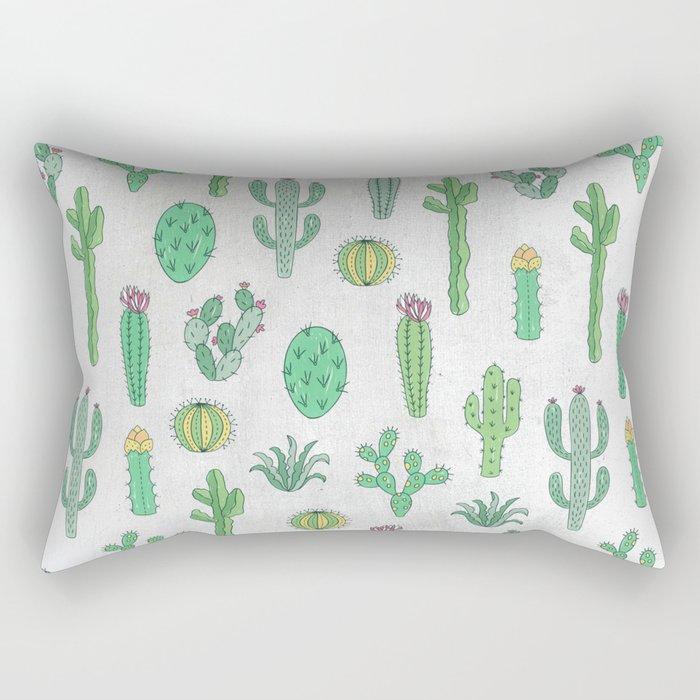 Cactus Pattern White Rectangular Pillow