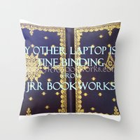 laptop Throw Pillows featuring Laptop by Jrr Bookworks
