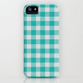 LIght Sea Green Buffalo Plaid iPhone Case