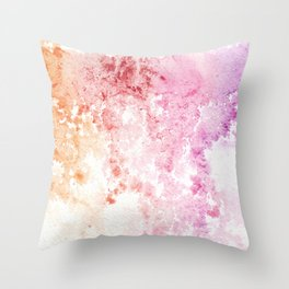Watercolor Purple To Red Rain Throw Pillow