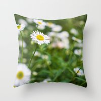 daisies Throw Pillows featuring Daisies by Michelle McConnell