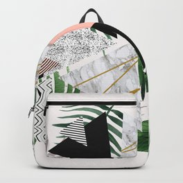 Abstract of geometric patterns with plants and marble Backpack
