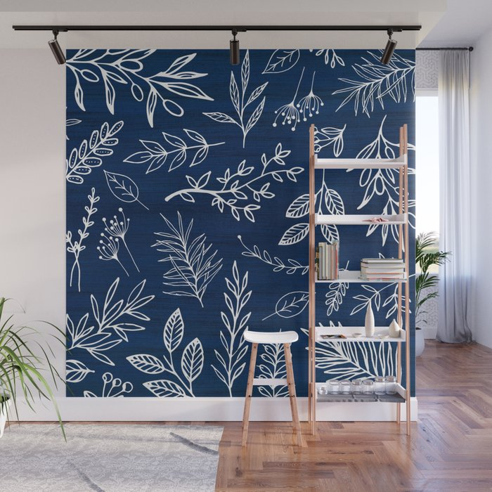 In The Wind - Blue and White Leaf Sketch Wall Mural