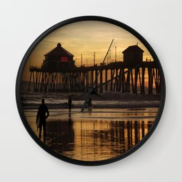 Sunset After Surfing Wall Clock