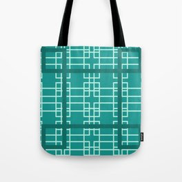 Midcentury Modern Geometric Turquoise Tote Bag