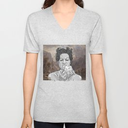 DELILAH (background : Albert Bierstadt - Lake Tahoe (1868)) Unisex V-Neck