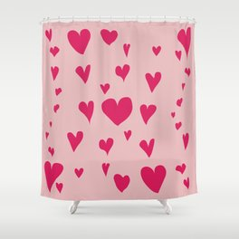 Imperfect Hearts - Pink/Pink Shower Curtain
