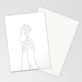 Minimal Line Art Feminine Hands Stationery Cards