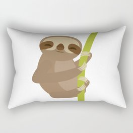 funny and cute smiling Three-toed sloth on green branch Rectangular Pillow