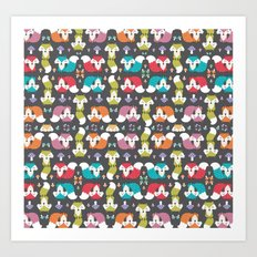 Fongus and foxes pattern Art Print