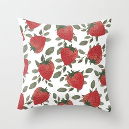 Tropical Strawberries Throw Pillow