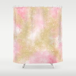 Pink watercolor gold glitter dust pattern Shower Curtain