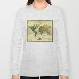 Vintage Map of The World (1823) - Stylized Long Sleeve T-shirt