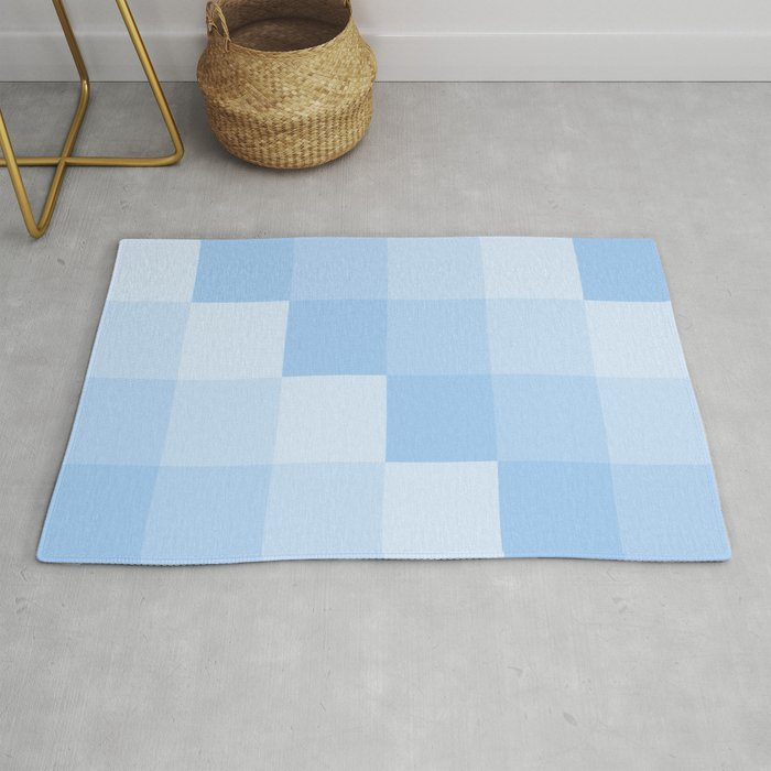 Four Shades Of Light Blue Square Rug By