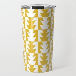 Art Deco Jagged Edge Pattern Mustard Yellow Travel Mug