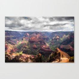 Waimea canyon with a stormy sky Canvas Print