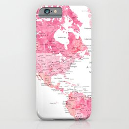 Pink detailed watercolor world map with cities Azalea iPhone Case