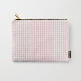 Small White and Light Millennial Pink Pastel Color Gingham Check Carry-All Pouch
