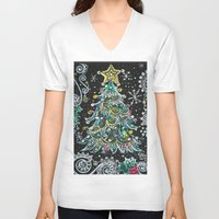 christmas tree V-neck T-shirts featuring Christmas Tree by Teri Newberry