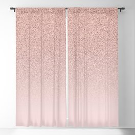 Trendy Rose Gold Faux Glitter Blush Pink Ombre Color Block Blackout Curtain