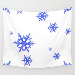 DECORATIVE WINTER WHITE SNOWFLAKES Wall Tapestry