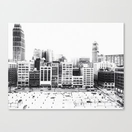 Woodward Avenue Downtown Detroit Black and White Print Canvas Print