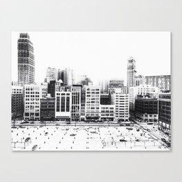 Woodward Avenue Downtown Detroit Black and White Print Canvas Print