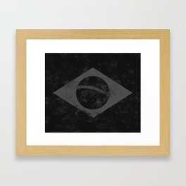 Black Brazil Flag Framed Art Print
