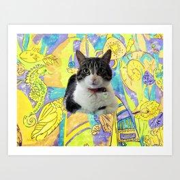 Zoe In Feline Seafare Delight Art Print