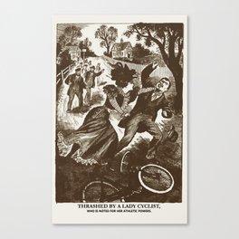 """Thrashed by a Lady Cyclist"" Vintage 1899 Canvas Print"