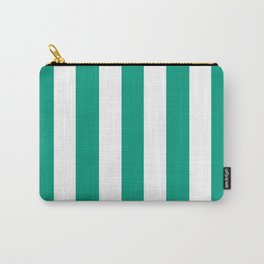 Paolo Veronese green - solid color - white vertical lines pattern Carry-All Pouch