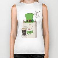 irish Biker Tanks featuring Saint Patric's cat, Cat cartoon characters, Irish Cat cartoon, ZWD004 by ZeeWillDraw