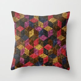 Colorful Isometric Cubes III Throw Pillow