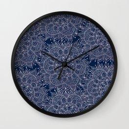 Modern navy blue blush pink watercolor floral mandala Wall Clock