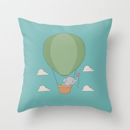 Kawaii Elephant Hot Air Balloon Throw Pillow