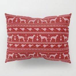 Ugly Christmas sweater | Greyhound / Whippet / Italian greyhound red Pillow Sham