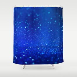 Abstract blue bokeh light background Shower Curtain