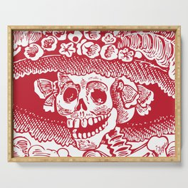 Calavera Catrina | Skeleton Woman | Red and White | Serving Tray