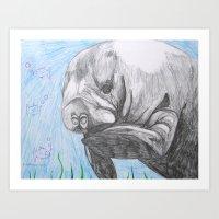 manatee Art Prints featuring Manatee by Caesarie
