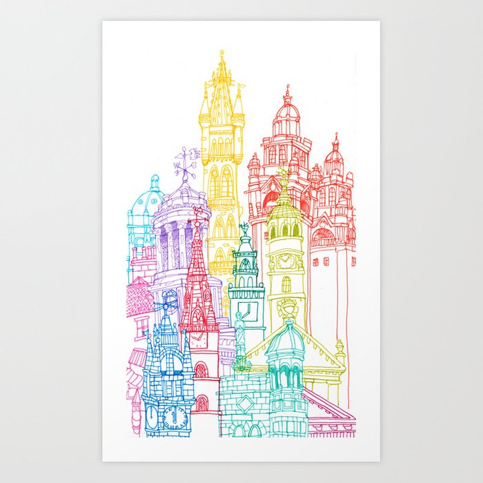 Glasgow Towers Art Print