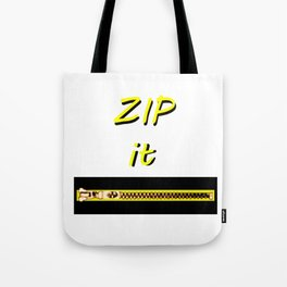 Zip it Black Yellow jGibney The MUSEUM Gifts Tote Bag