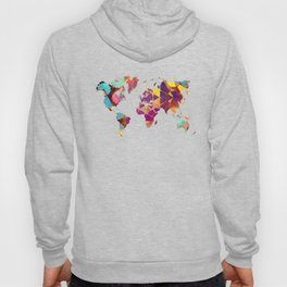 Map of the world colored geometric Hoody