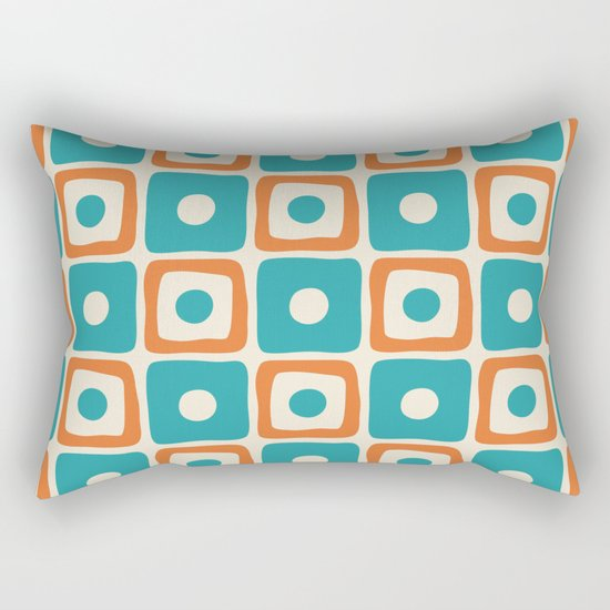 Mid Century Modern Square Dot Pattern 771 Turquoise and Orange by tonymagner