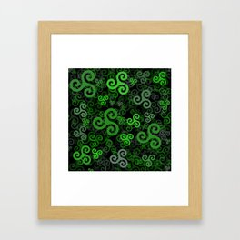 Triskele triskelion in green Framed Art Print